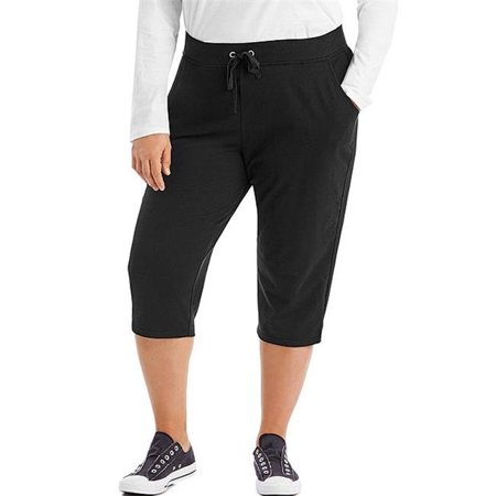90563181551 French Terry Womens Capris - BK, 5X