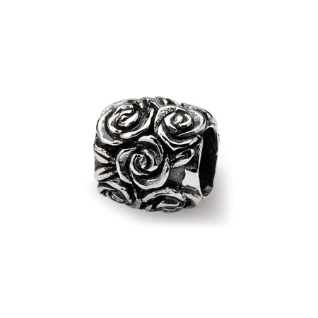 Sterling Silver Flower Polished Antique finish Reflections Kids Floral Bali Bead Charm