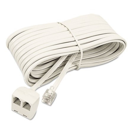 Telephone Extension Cord, Plug/Dual Jack, 25 ft., Almond