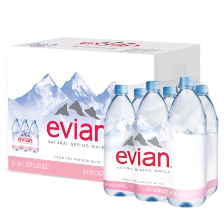 Evian Natural Spring Water, 1 L, 12 Count (2 Pack of 6