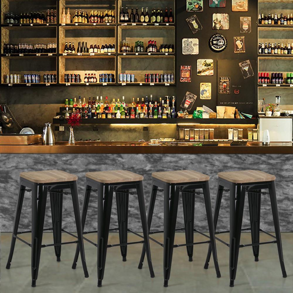 YaHeetech 4pcs Metal Counter Bar Stool Kitchen Pub Bar Stool 26'' W Wood Seat 331Lb by Yaheetech