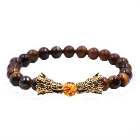 Polished Natural Tiger Eye Style Brown Beads Gold Tone Dragon Heads Bracelet, J-7-T