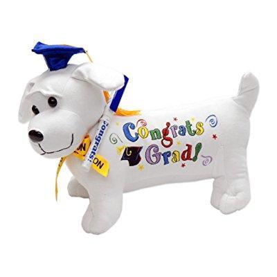 graduation autograph stuffed dog w/ pen, congrats grad! (blue) - Graduation Dog
