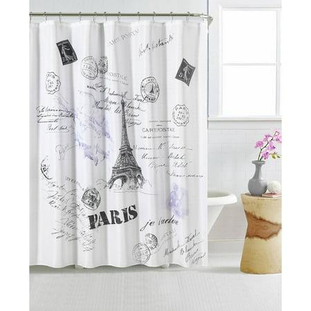 Mainstays Paris 13 Piece Shower Curtain And Decorative Hooks Set