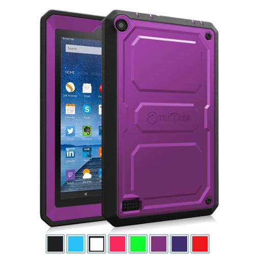 "Fire 7 2015 Case - Fintie Dual Layer Hybrid Full Protective Cover for Amazon kindle Fire 7"" Display 5th Gen, Purple"