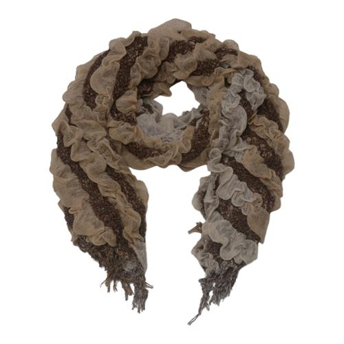 Image of Girls Light Brown Two Tone Gradient Print Ruffled Fringed Scarf