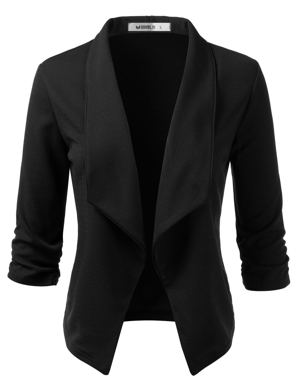 Doublju Women's Open Front Blazer 3/4 Sleeve Plus Size Office Cardigan Blazer BLACK S
