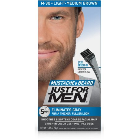 Just For Men Mustache and Beard, Easy Brush-In Facial Hair Color Gel, Light  Medium Brown, Shade M-30