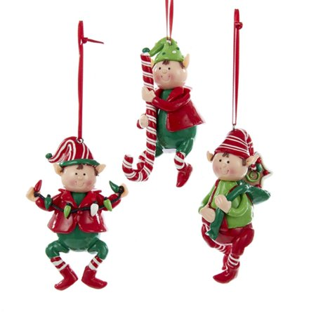 club pack of 24 red white and green claydough elf christmas ornaments 4