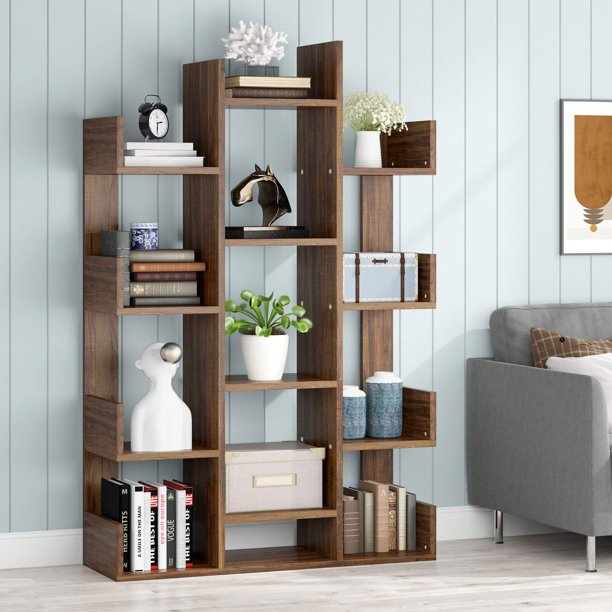 "Rustic Wide Bookshelf, 12 Open Shelves Bookcase Vintage Book Shelves Wood Display Shelf Storage Organizer for Livingroom Home Office, 38"" x 12""x 59 Inches(Rustic)"