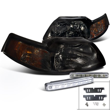 Mustang 5.0 Coupe - Spec-D Tuning For 1999-2004 Ford Mustang Coupe Convertible, Smoked Lens Headlights, Led Fog Lamp Set (Left+Right) 1999 2000 2001 2002 2003 2004