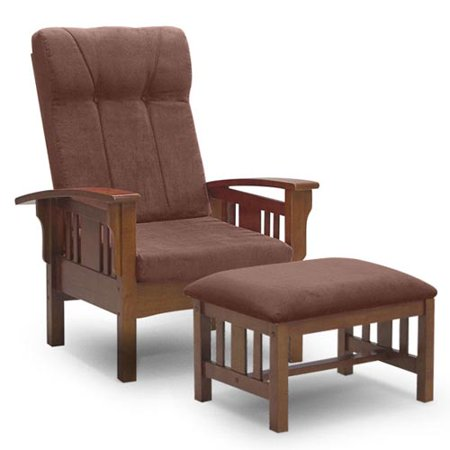 Pleasing Mission Leisure Chair And Ottoman With Brown Microsuede Cushions Dailytribune Chair Design For Home Dailytribuneorg