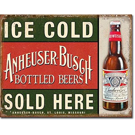 Ice Cold Anheuser Busch Bottled Beers Sold Here Distressed Look Tin Collectible Sign Gift Ppm 559