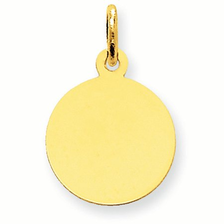 Engravable Round Disc Charm - 10K Yellow Gold .018 Gauge Engravable Round Disc Charm Pendant MSRP $141