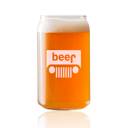 Beer Jeep Grille |16oz Beer Can Glass | Laser etched, dishwasher safe,  Made in the USA.