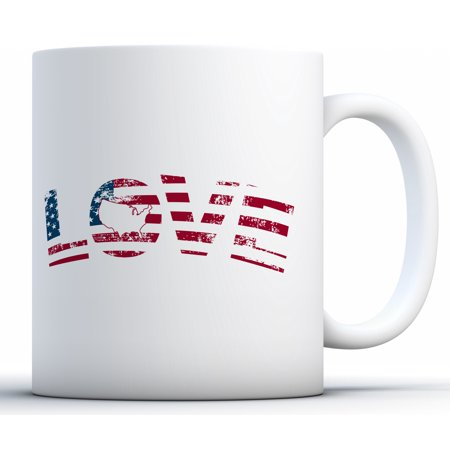 Awkward Styles American Love Coffee Mug Love Themed Gifts USA Mugs 4th of July 4th of July Accessories 4th of July Kitchen Decoration Independence Day USA Flag Mug Coffee Lovers Gifts