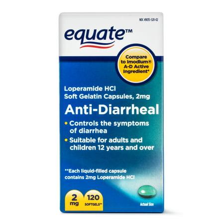 Equate Anti-Diarrheal Loperamide Hydrochloride Softgels, 2 mg, 120 ...