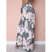 Multitrust Womens Floral Palazzo Pants High Waist Wide Leg Culottes Casual Long Trousers