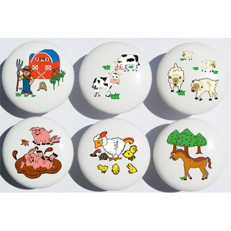 Presto Chango Decor Animal Farm Circle Novelty Knob (Set of 6)