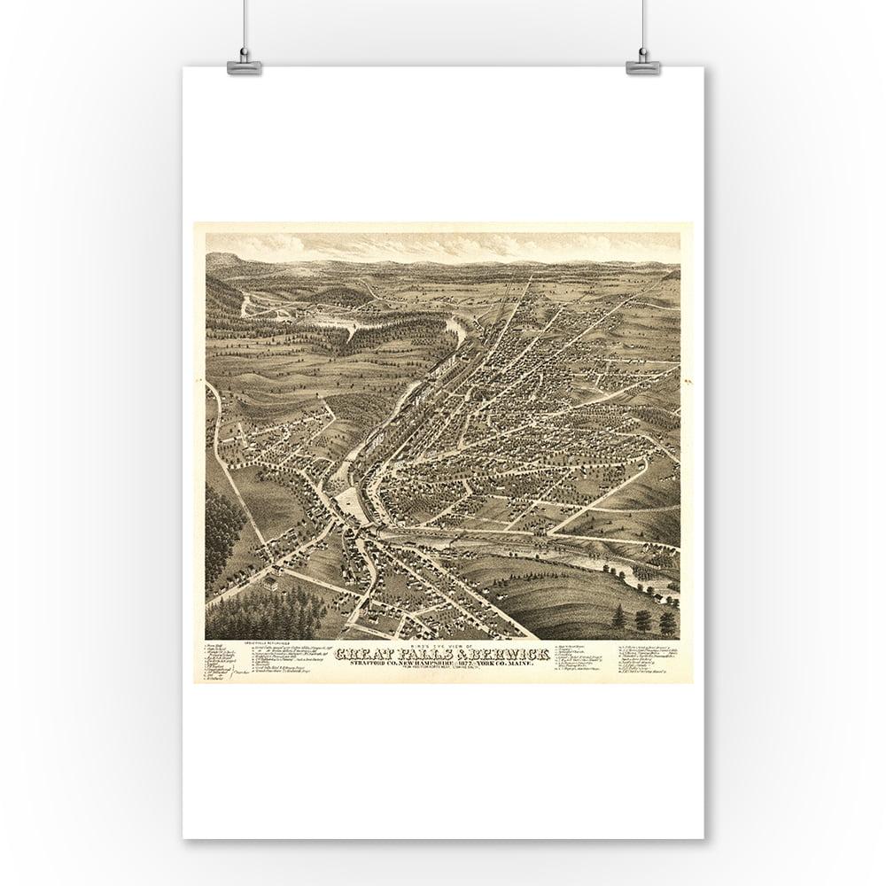 Great Falls, New Hampshire - Panoramic Map (9x12 Art Print, Wall Decor Travel Poster)
