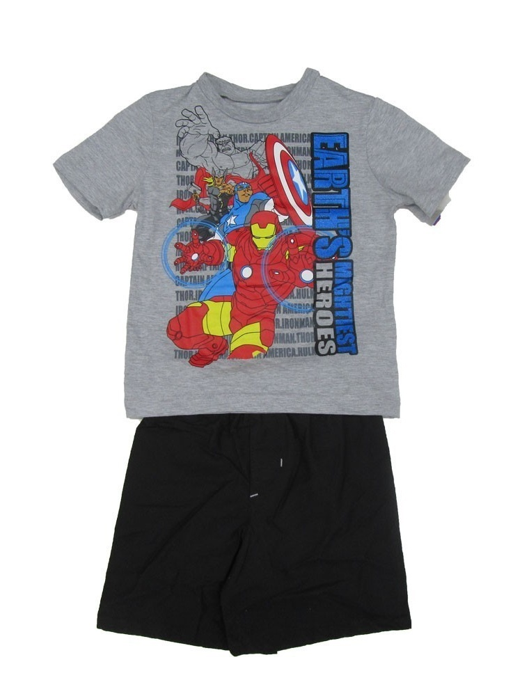"""Marvel Little Boys Gray Black """"Earth's Mighty Heroes"""" 2 Pc Shorts Outfit"""
