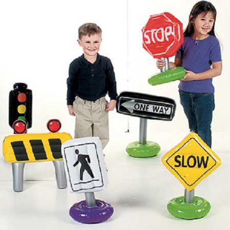 Lot of 6 Inflatable Traffic Stop One Way Signs Kids - Toys Sign
