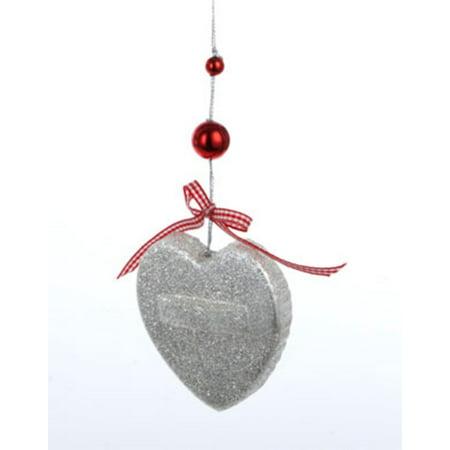 """Kurt S. Adler 3"""" Gingerbread Kisses Glitter Heart Cookie Cutter Christmas Ornament - Silver"""