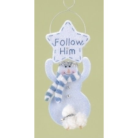 "Roman 12ct Religious ""Follow Him"" Snowman Angel Christmas Ornament Set 8"" - White/Blue"
