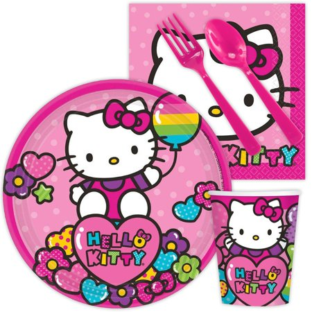 Hello Kitty Rainbow Birthday Party Standard Tableware Kit Serves 8 - Hello Kitty Cake Kit