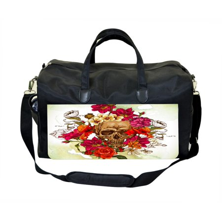 Sugar Floral Skull Large Black Duffel Satchel Style Therapy Supplies / Therapist's Bag for $<!---->