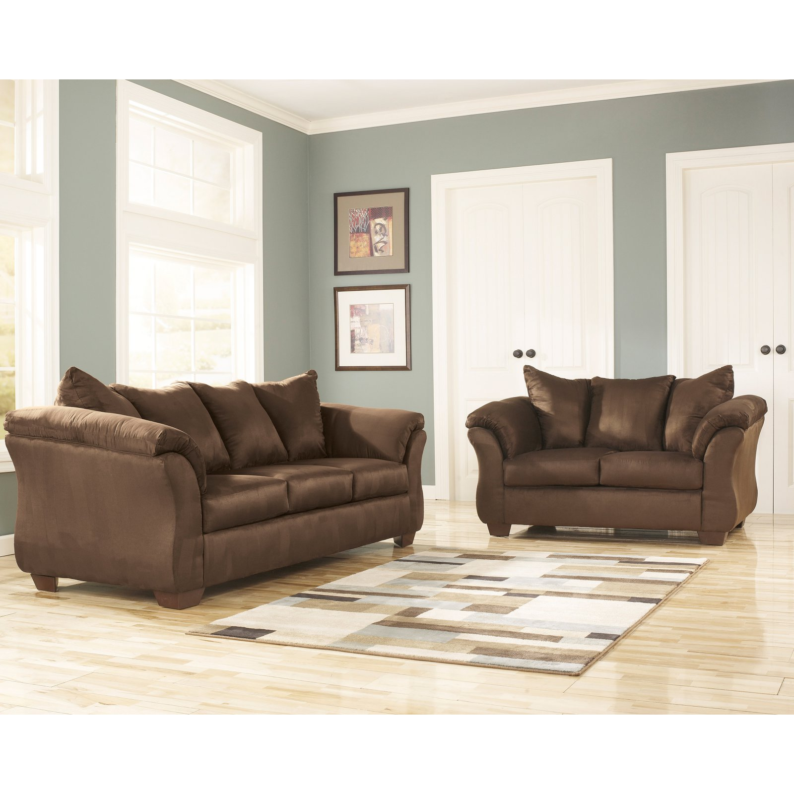 Signature Design by Ashley Darcy Fabric Living Room Set Cafe