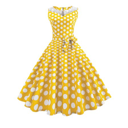 Women Vintage Mesh Polka Dot Evening Party 1950s Rockabilly Hepburn Dress ()