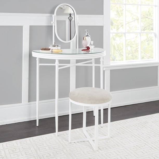 Mainstays Transitional Metal Vanity Set, White Finish