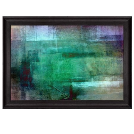 wall26 - Abstract Painting of Shades of Green and Grey Placed in an Elegant Wooden Black Frame - Framed Art Prints, Home Decor - 16x24 inches ()