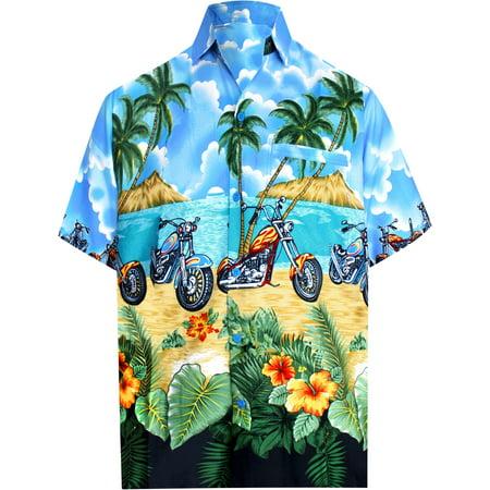 078d33a1 Hawaiian Shirt Mens Beach Aloha Camp Party Casual Holiday Tropical Shirt  Bike Print Blue_W158 7XL