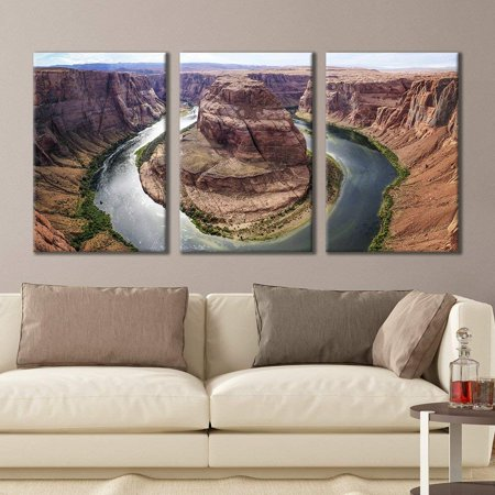 wall26 - 3 Panel Canvas Wall Art - Majestic Natural Landscape Triptych Canvas Series - Horseshoe Bend - Giclee Print Gallery Wrap Modern Home Decor Ready to Hang - 24