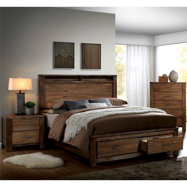 Furniture of America Nangetti Rustic 3-Piece Queen Bedroom Set in Oak