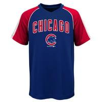 MLB Chicago CUBS TEE Short Sleeve Boys Fashion Jersey Tee 100% Polyester Pin Dot Mesh Jersey Team Tee 4-18