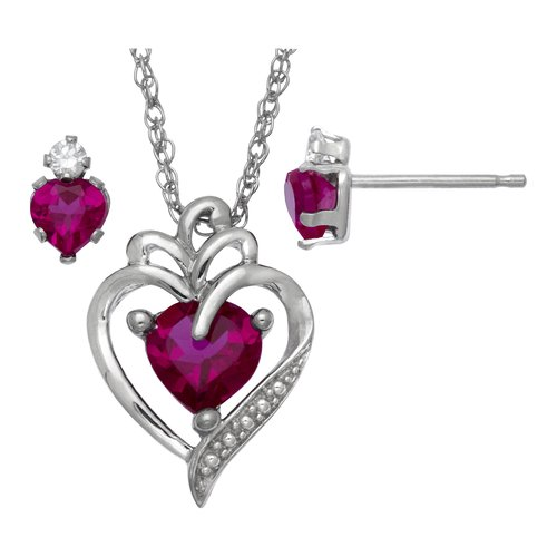 1.61 Carat T.G.W. Lab-Created Ruby and CZ Sterling Silver Heart Pendant and Earrings Set