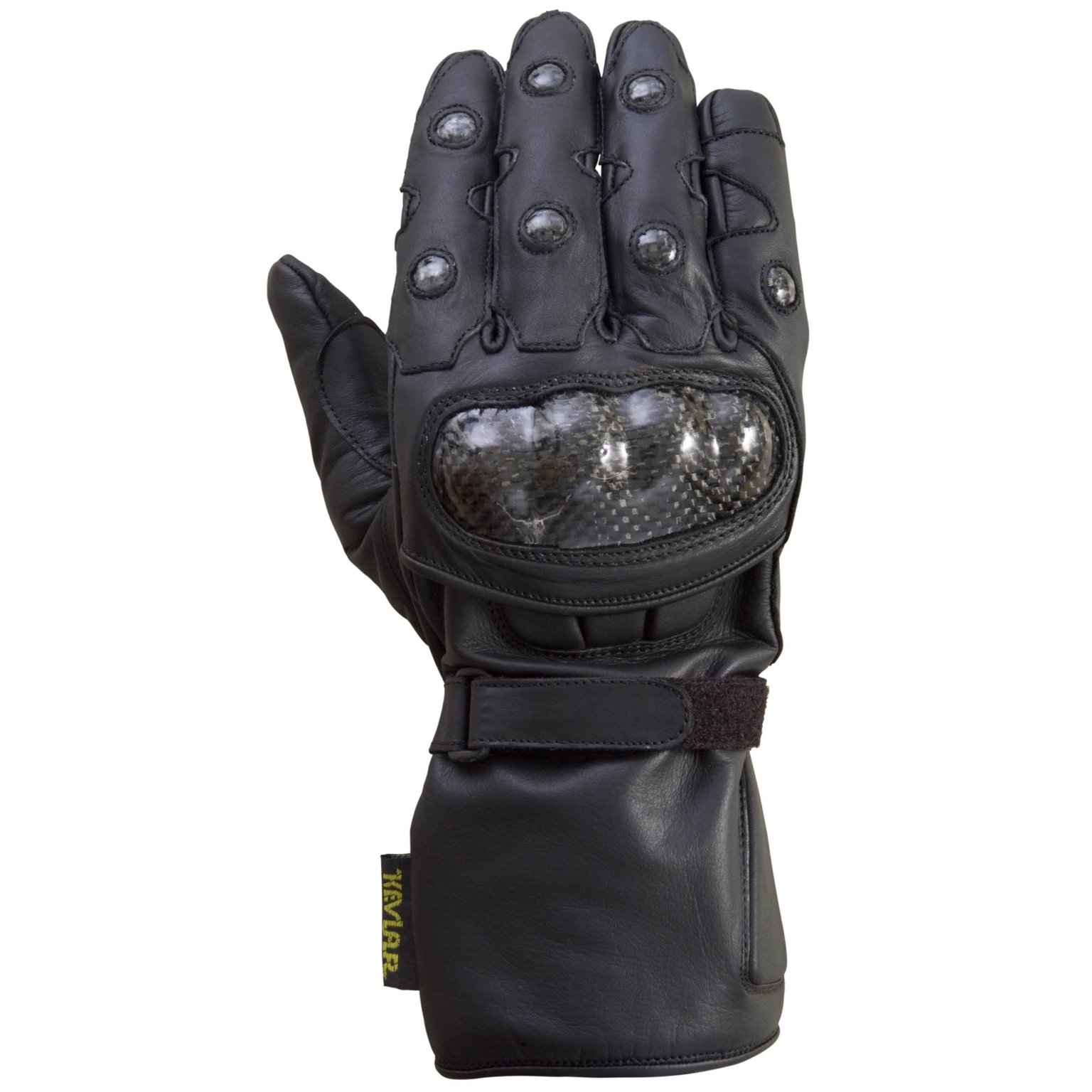 XtreemGear Carbon Fiber Leather Motorcycle Glove, Black