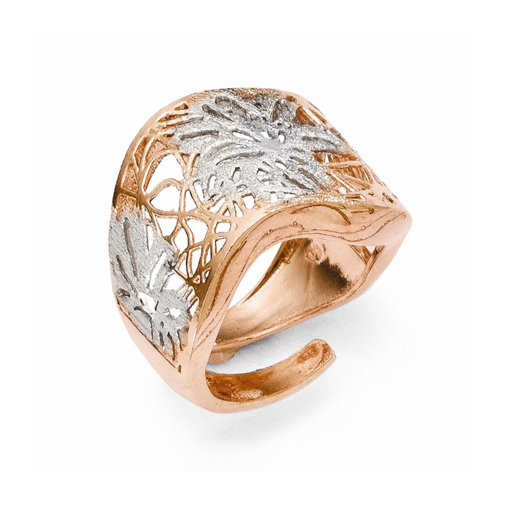 Sterling Silver Rose Gold-Plated Adjustable Ring