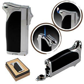Duplex Dual Style Torch & Flame Lighter - Black & Chrome ()
