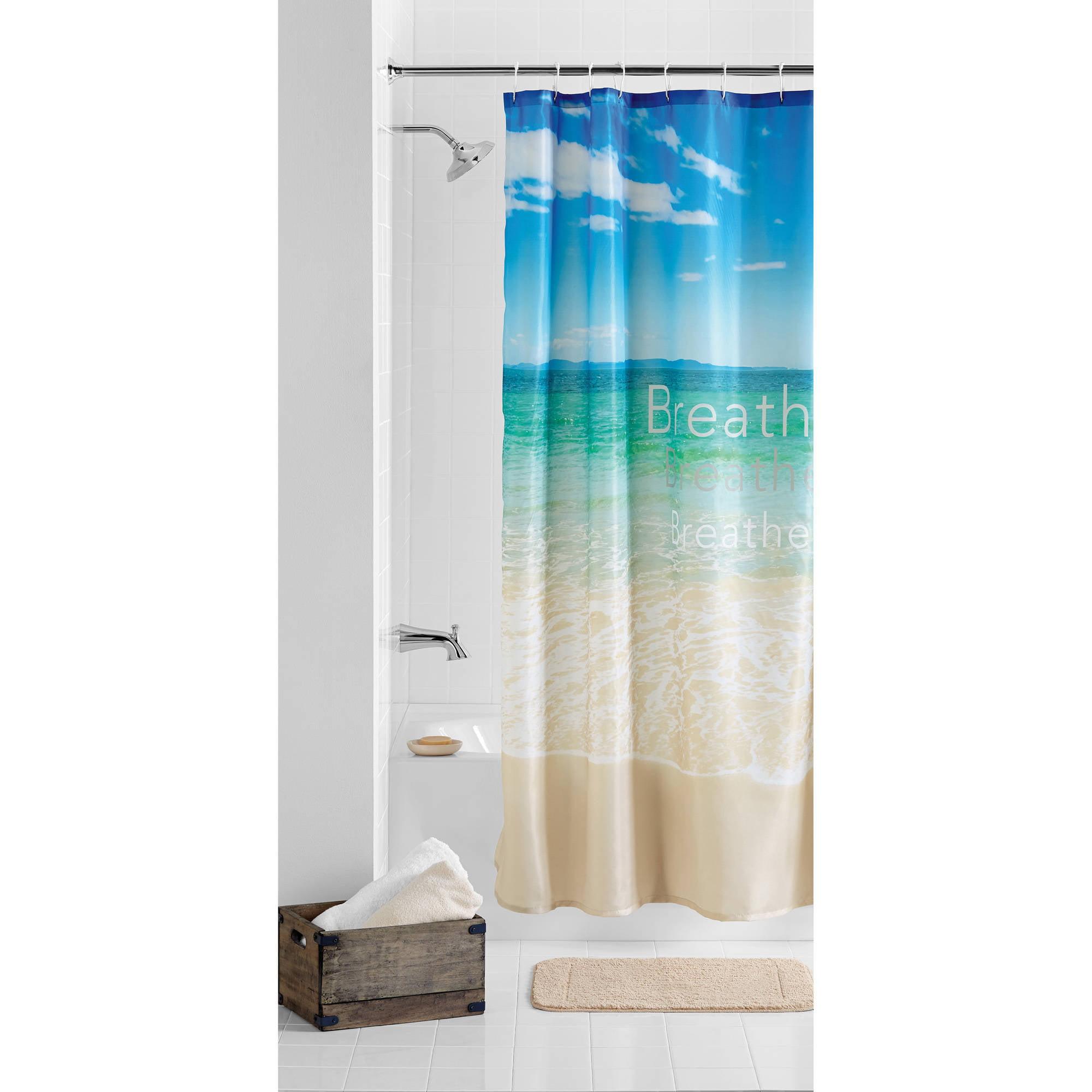 Mainstays Breathe Beach Polyester Printed Fabric Shower Curtain 1
