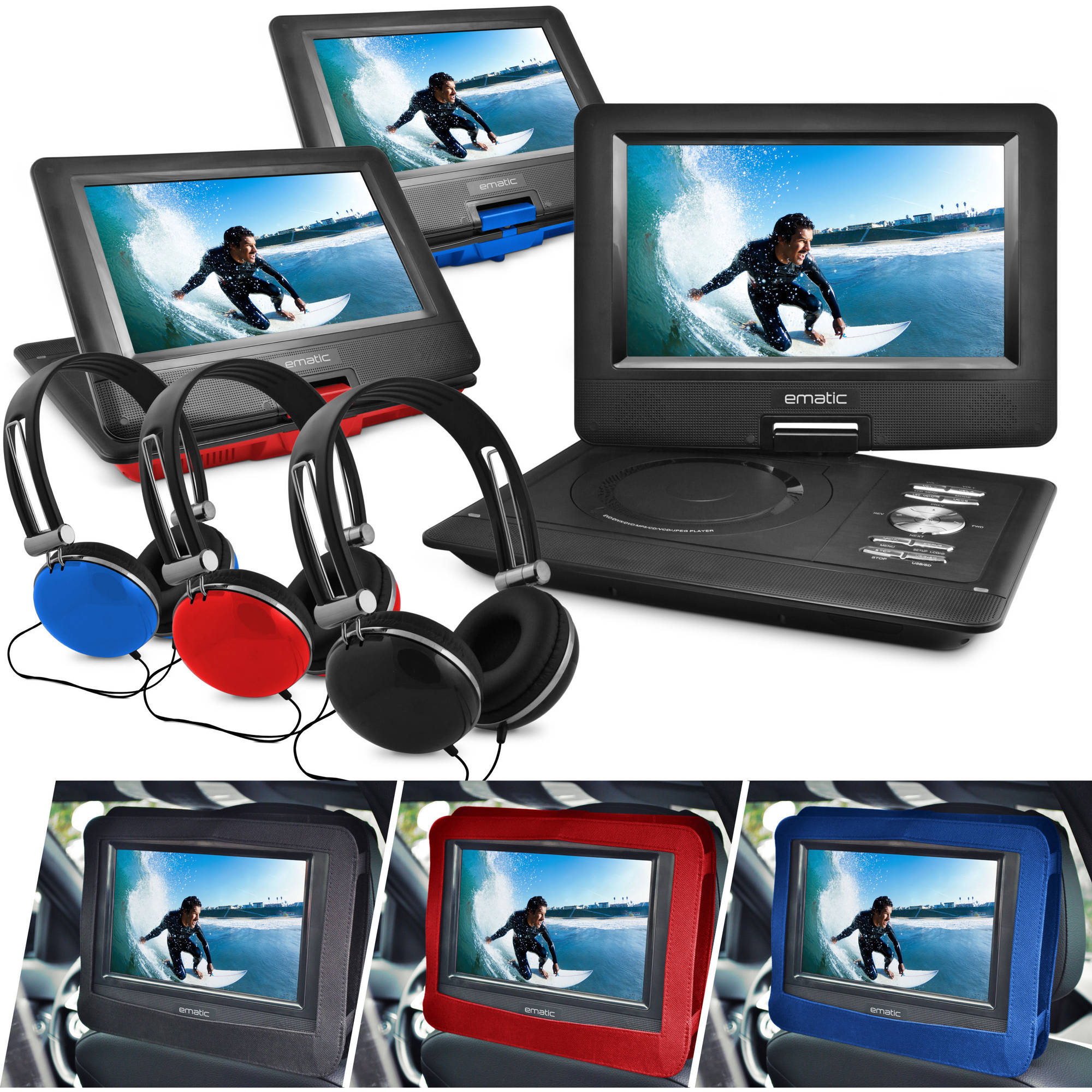 "Ematic 10"" Portable DVD Player with Headphones and Car Headrest Mount"