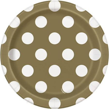 Gold Polka Dot Paper Plates (7