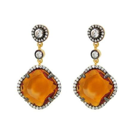 Fronay 415124C Boucles d'oreilles pendantes en forme de tr-fle - zircon jaune en argent sterling - image 1 de 1