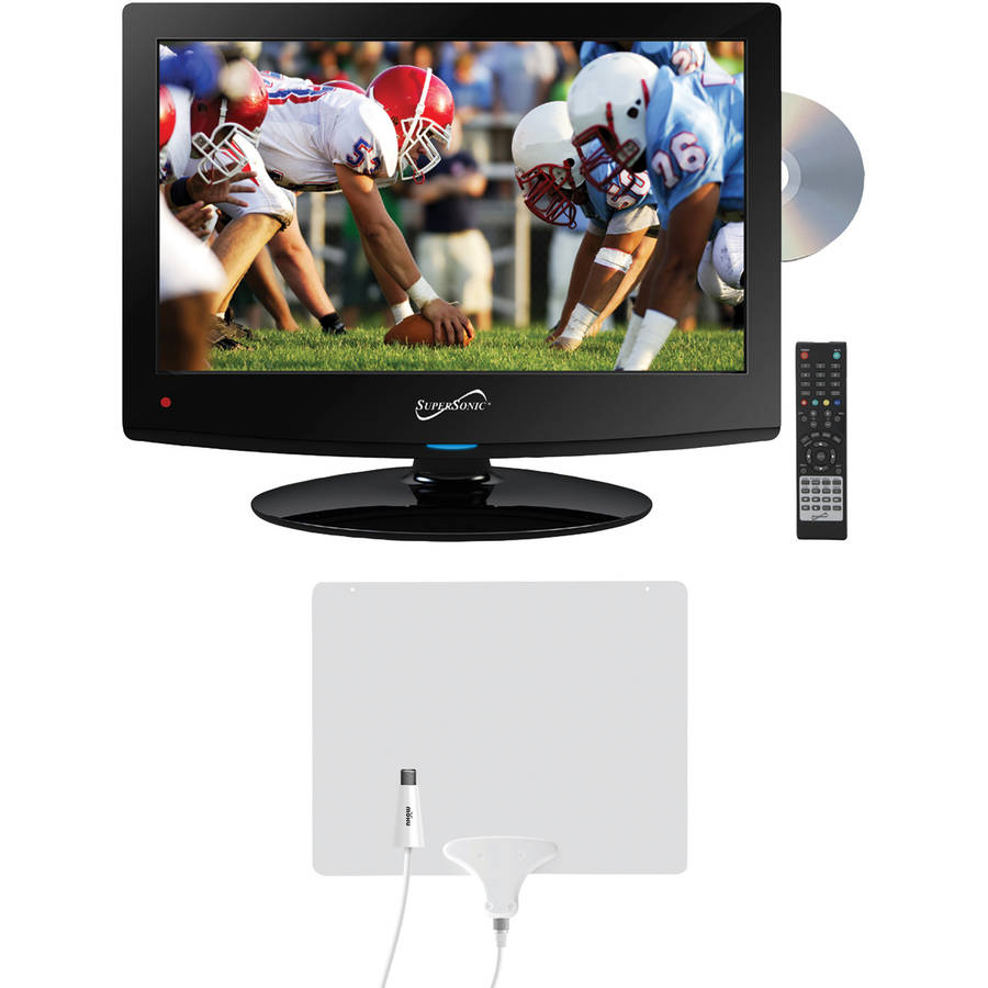 """Supersonic 15.6"""" Class - HD, LED TV/DVD Combination - 720p, 60Hz (SC-1512) and Mohu Leaf 50 HDTV Antenna"""