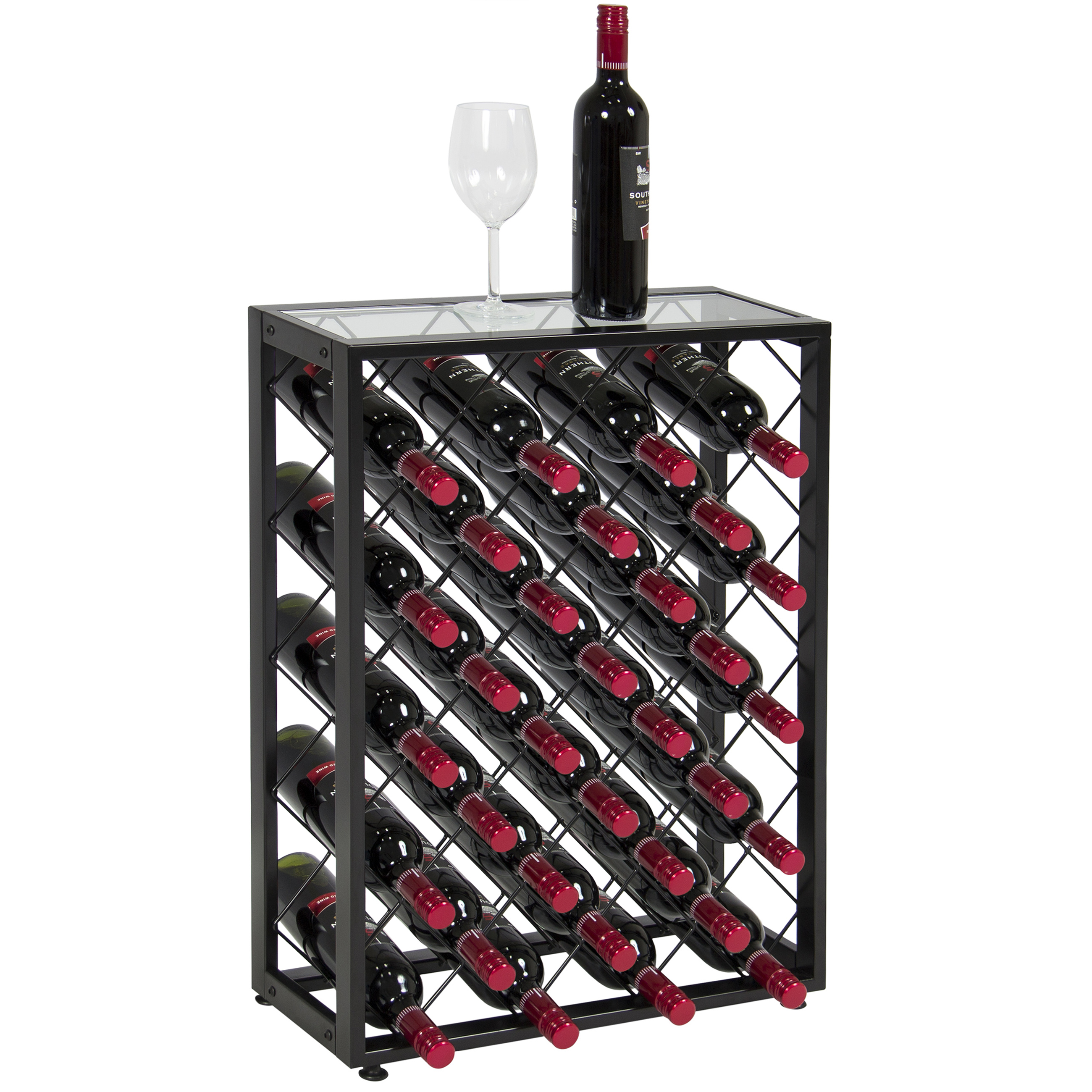 Click here to buy BCP Elegant 32 Bottle Wine Rack W  Glass Table Top Black Storage Liquor Cabinet.