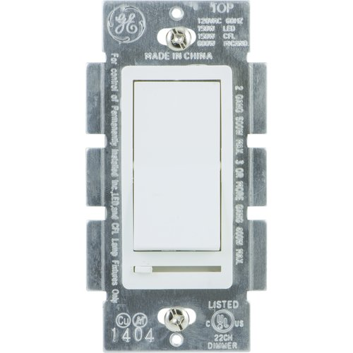GE Single-Pole Rocker Switch Dimmer, White
