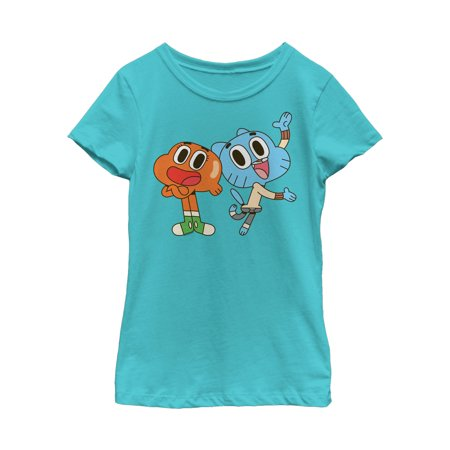 The Amazing World of Gumball Girls' Darwin and Gumball Grin T-Shirt